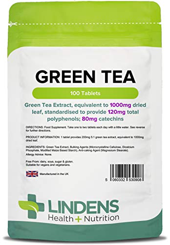 Lindens Green Tea 1000mg Tablets | 100 Pack | Green Tea Extract, Equivalent to 1000mg Dried Leaf, Standardised to Provide 120mg Total Polyphenols; 80mg Catechins
