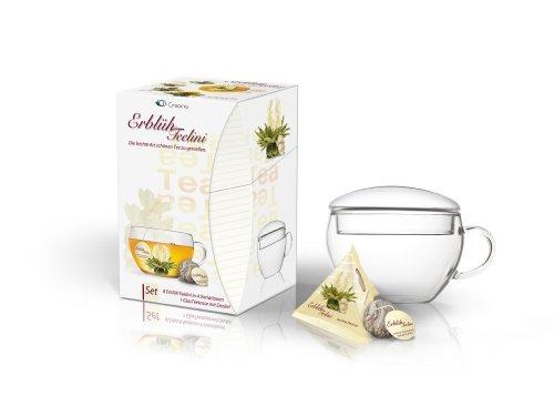 Teelini fleuri Creano, coffret cadeau fleurs de thé avec verre à thé et 8 fleurs de thé en format tasse - thé blanc