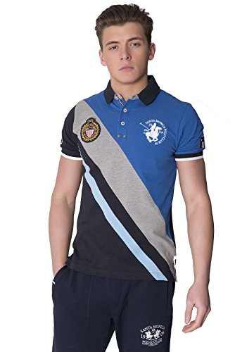 Santa Monica Polo Club -  Polo  - Camicia - Basic - Collo a U  - Uomo blu X-Large