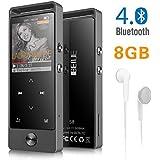 Lecteur MP3 BENJIE Bluetooth 4.0 8 G Portable sans Perte Son Hi-FI Métal Lecteur de Musique avec-Casque Radio FM Écran 1.8TFT Enregistreur Vocal Supporte 128 Go