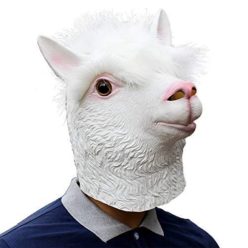 Gesicht Kostüm Schaf - Haoxiaren Tier Alpaka Maske Erwachsene Volle Gesicht Latex Maske Schafe Kopf Cosplay Kostüm Halloween Requisiten Tricks Clown Maskerade Partei Maske