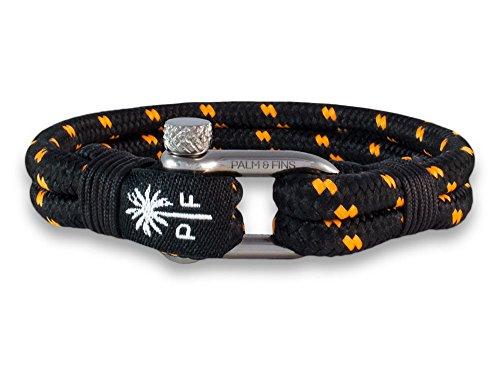 """PALM & FINS \""""Double Six\"""" Herren-Armband Schwarz/Orange aus hochwertigem Nylon und rostfreiem Edelstahl (19, Silber)"""