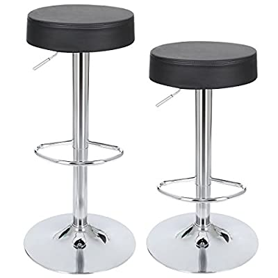 Songmics 2 x Faux Leather Breakfast Kitchen Bar Stools Black LJB01B - low-cost UK light store.