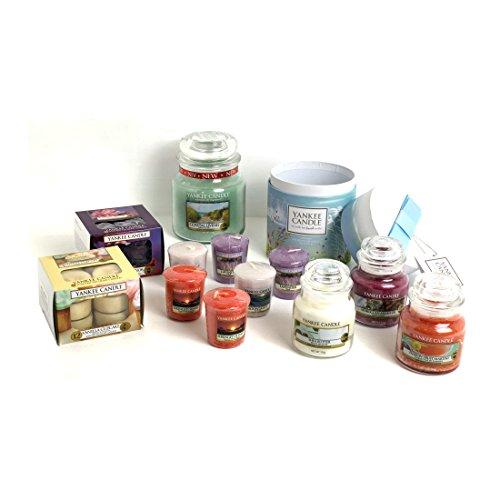 Offizielles Yankee Candle Mega 34Stück Coastal Living Geschenk Set–Inklusive Sampler/Votivkerze Kerzen, Teelichter + Medium & kleine Marmeladengläser (Marokkanische Auto-tag)