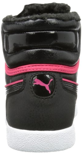 Puma - First Round Fur Jr, Sneaker a collo alto Unisex – Bambini Nero (Schwarz (black-virtual pink 02))