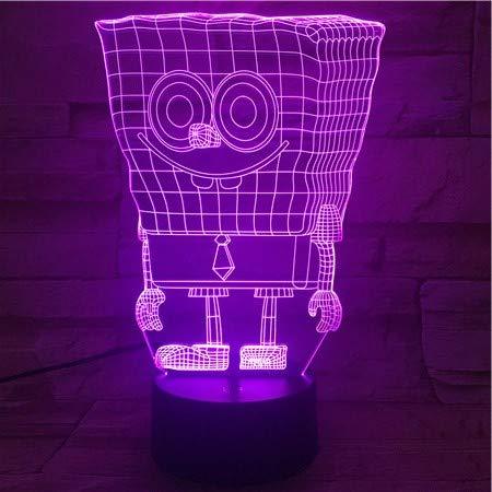 Bob Esponja 3D Lámpara De Ilusión Óptica Luz De