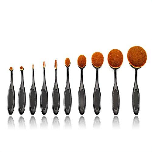Beauté Kingdom Lot brosse à dent Design Forme Elite ovale Maquillage Fond De Teint Poudre Pinceau à lèvres Eyeliner Brosse ovale de beauté maquillage tools-makeup Kit de boîte avec étui