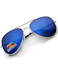 4sold Joven Polarized Gafas de sol aviador Kids en muchos combinaciones clásica Pilot Gafas unisex gafas de sol multicolor Silver Frame Silver Polarized Mirror