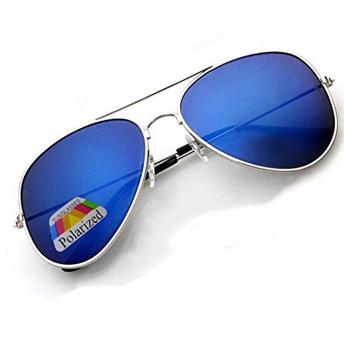 4sold Jungen Polarized Sonnenbrille Kids in vielen Farbkombinationen Klassische Unisex Sonnenbrille (Silver Frame Blue Polarized Mirror)