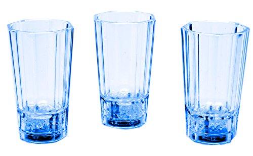 LED-Highlights Glas Becher Schnapsglas Ramazotti 3 er Set 60 ml LED blau Farbwechsel Bar Kunststoff Trinkglas mit Batterie