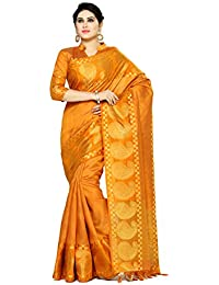 Mimosa By Kupinda Women's Tussar Silk Saree Banarasi Style Color : Orange (4074-271-Mst)