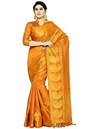 Mimosa By Kupinda Women's Tussar Silk Saree Banarasi Style Color : Orange (4074-271-Mst)