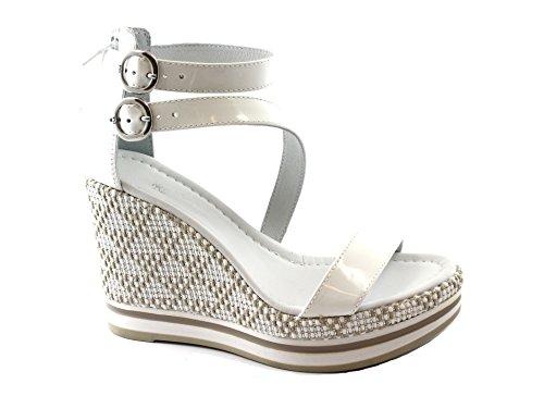 Nero Giardini 5900 Weiße Schuhe Frau Leder Sandalen Keil Schnallen Reißverschluss Farbe Bianco