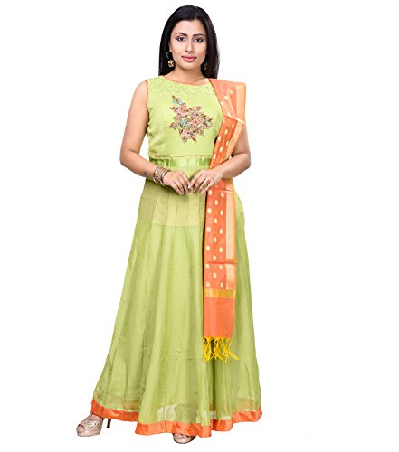 Vedika Creations Green Colour Georgette Anarkali Salwar Kameez.