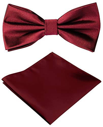 Helido Herren-Fliege mit Einstecktuch, einfarbig + Geschenkbox (Rot)