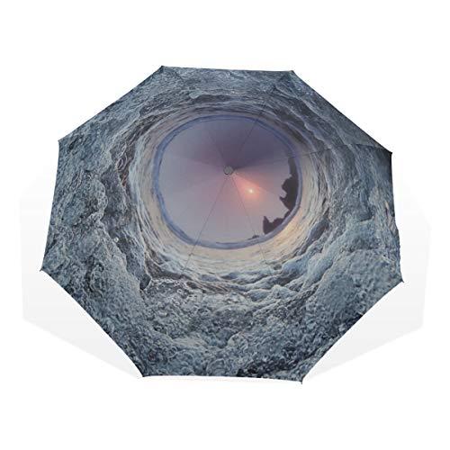 Reiseschirm Blick auf das sehr komfortable Wasser Whirlpool Anti Uv Compact 3-Fach Kunst Leichte Faltschirme (Außendruck) Winddicht Regen Sonnenschutzschirme Für Frauen Mädchen K -