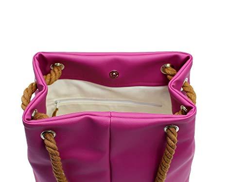 Handtasche Damen, Magenta, Pink, Lila, mit Kordel, handmade - 3