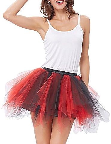 Mangotree Damen Retro Petticoat Kurz Rock Ballett Blase 50er Tüllrock Unterröcke 3 Layers Pettiskirt Unterkleid Tanzkleid (Schwarz-Rot)