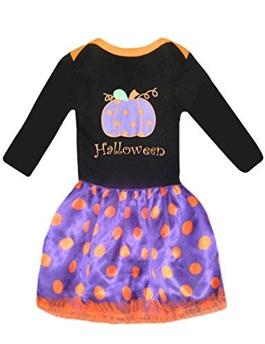 Mädchen Halloween Kleider Pumpkin Cotton Top + Dot Röcke,3-8 Jahre