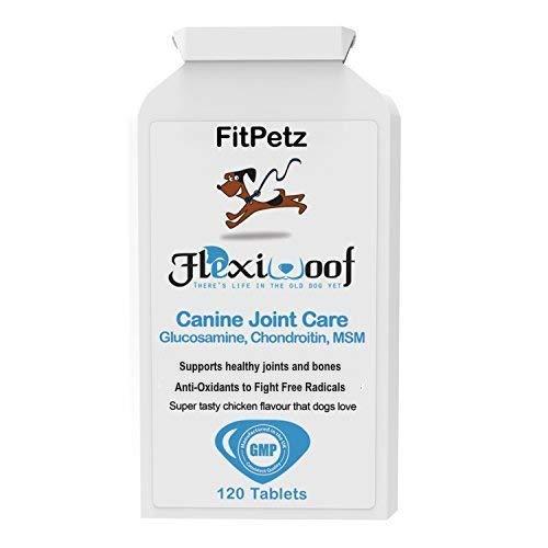 Hunde-Gelenk-Ergänzungen - FlexiWoof - Glucosamin, Chondroitin, MSM, Hyaluronsäure, Curcumin, Grünlippmuscheln - Arthritis-Tabletten für Hunde - 120 Chicken Flavoured Tablets - Geschmacksgarantie - UK -