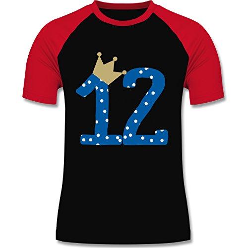Geburtstag - 12. Geburtstag Krone Junge Zwölfter - zweifarbiges Baseballshirt für Männer Schwarz/Rot