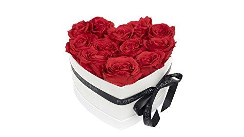 FLEURS du COEUR Infinity Blumen - Weiße Rosenbox Mon Coeur in Herzform mit Roten Rosen -