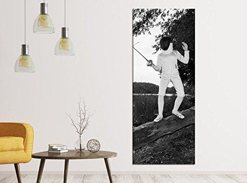 Leinwandbilder schwarz weiß 1Tlg 40x100cm Sport Fechten Rapier Maske Baum Leinwandbild Kunstdruck Wand Bilder Vlies Wandbild Leinwand Bild Druck 9ZA2366, Leinwandbild Gr. 1:40cmx100cm