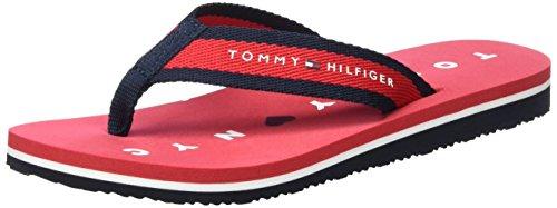 Tommy Hilfiger M1285ellie 7d, Sandales Bout Ouvert Femme Rouge (Tango Red 611)