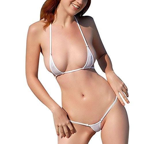 Tiaobug BH Bra + String-Tanga Reizwäsche Dessous Set Sexy BH-Set BHs Unterwäsche (Weiß)
