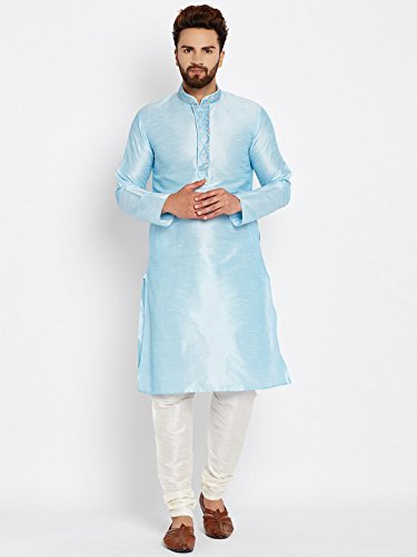 Royal Sojanya Men's Dupion Silk Kurta Churidaar With Self Brocade Design In Front XX-Large Aqua Blue And Cream (Brocade Kurta)