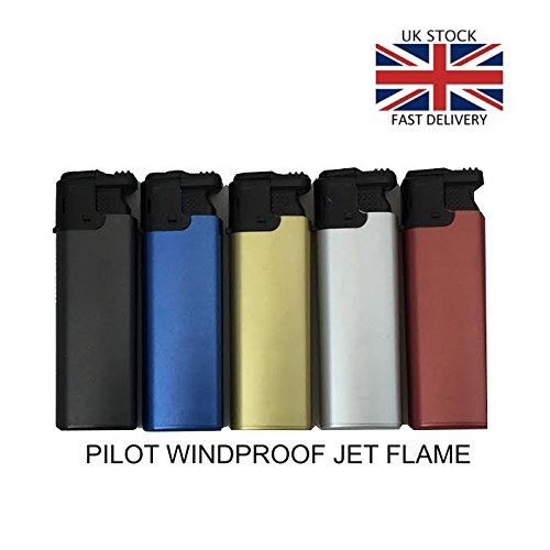 41Z8WKeeu9L. SS500  - 25 Pack Refillable 'Pilot' WINDPROOF 'FLAMELESS' Turbo Electronic Gas Lighters