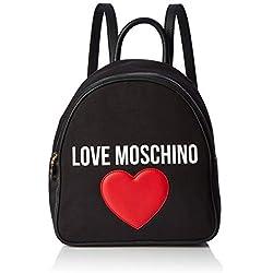 Love Moschino - Borsa Canvas E Pebble Pu, Shoppers y bolsos de hombro Mujer, Negro (Nero), 11x30x28 cm (W x H L)