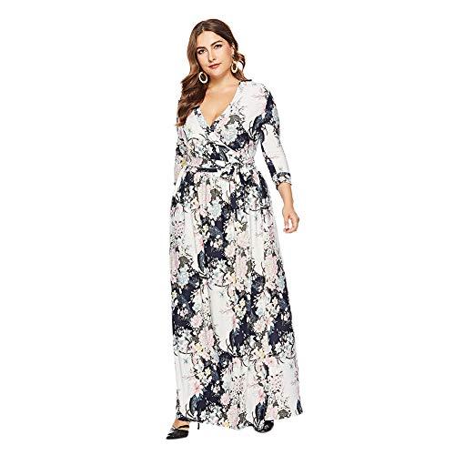 Zhuhaixmy Damen Boho Lang Sommer Kleider Plus Size - Taille Cinching V-Kragen 2/3 Ärmel Freizeit Strappy Sommerkleid XL-6XL
