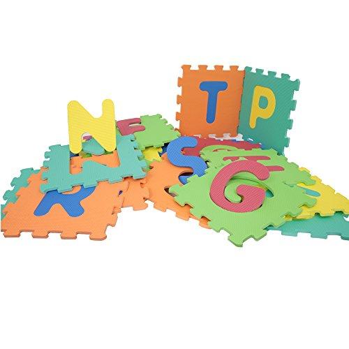 Mamatoy MMA93000 - Mamababy Tappeto Puzzle ABC, Tappetini 32 x 32 cm, Numeri e Simboli Staccabili, 26 pezzi