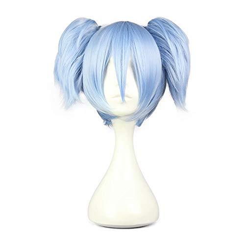 NiceLisa Mädchen Kurze Gerade Blau Anime Convention Fan Kostüme Verkleidung Cosplay Party Perücke mit Pferdeschwanz