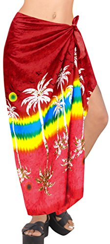 Rock Badeanzug einpacken Damebadebekleidung Pareo Bademode Sarong hawaiische Vertuschung Frauen rot Baden (Sarong Baden-abdeckung)