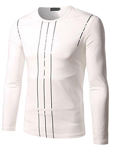 ZhiyuanAN Herren Rundhalsausschnitt Langarm-T-Shirt Dünnes Hemd T-Shirt Weiß