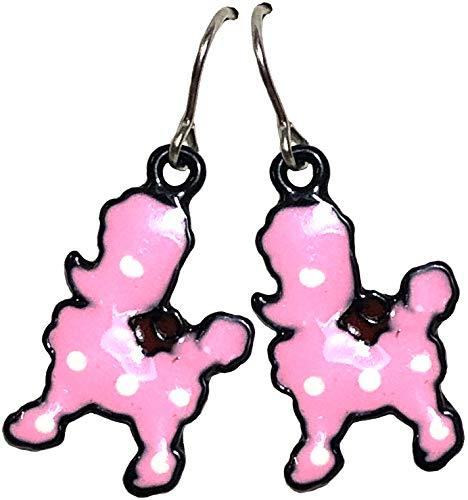Unbekannt Damen Ohrringe Pink Poodle Pudel Retro Ohrhänger