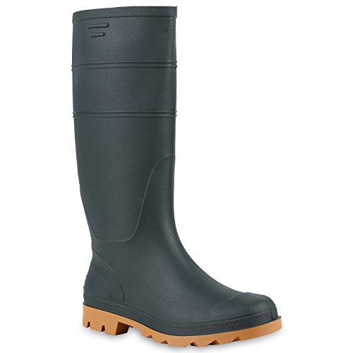 Herren Stiefel Boots Gummistiefel Profilsohle Regenschuhe Wasserdicht Dunkelgrün