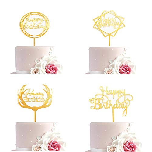 Kuchen Topper, Alles Gute Zum Geburtstag Symbol Kuchen Mütze, 4 Stück Multi-Kreis, Quadratische Sterne, Geweih, Englische Buchstaben, Geeignet Zum Dekorieren Geburtstagstorte (Gold) (Kuchen Kreise Gold)