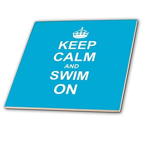 3dRose CT 157778_ 2Keep Calm & Swim On Blau Carry On Schwimmen Hobby oder Pro Schwimmer Geschenke Pool Fun Funny Humor Keramik Fliesen, 15,2cm - Keramische Fliesen Pool