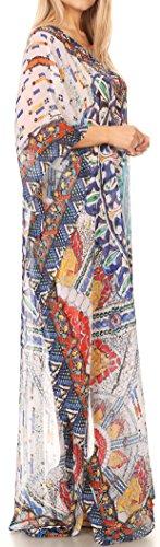 Sakkas Wilder gedruckte Entwurf lange schiere Strass Kaftan Kleid / Vertuschung 17161-BlueOrgNavy