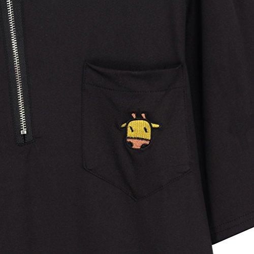 Hongma Polo T-shirt Donna Maglietta Camicia Bluse Ricamo Giraffa Cartoon con Zipper Nero nero L