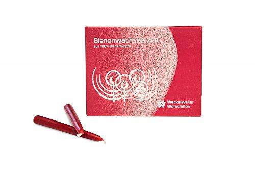 Weckelweiler Werkstätten Geburtstagskerzen, Baumkerzen aus Bienenwachs rot, 24 Stück
