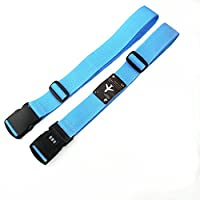 CHMETE 2Pcs Long Cross Number Lock Luggage Strap Suitcase Travel Belt B;ue