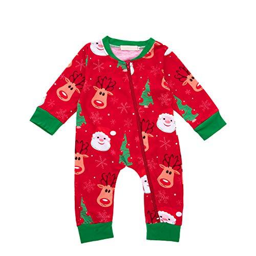 Anywow Säugling Weihnachten Rentier Weihnachtsmann Kleidung Kleinkind Jungen Mädchen Baumwolle Langen Ärmeln Pyjamas ()