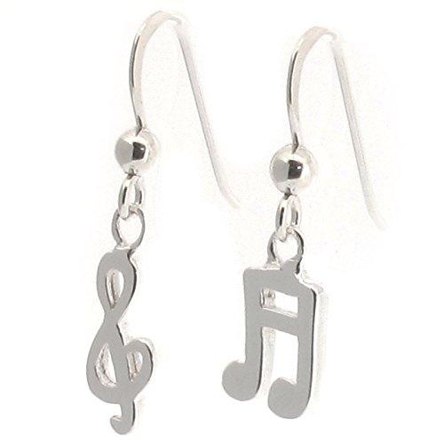 Pendientes de gota de plata de ley, diseño de nota musical y clave de sol