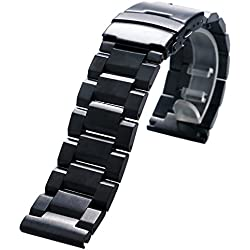 YISUYA Black 20mm Solid Stainless Steel Watch Band Strap 2.0cm Fold-over Clasp with Safety Replacement Watch Bands