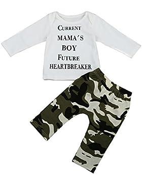 [Patrocinado]Covermason Bebé Niños Manga Larga Lindo Carta Impresión Camiseta y Camuflaje Pantalones (2PCS/1 conjunto) (12-...