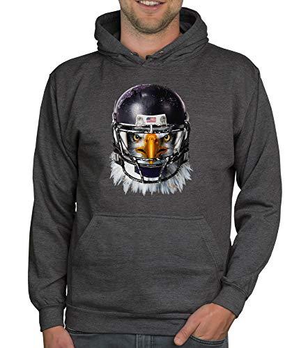 shirtdepartment - Herren Sport Fan-Outfit - Football Eagle - T-Shirt und Hoodie dunkelgrau-Hoodie XS